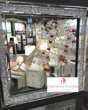 3D Moet & Strawberry Champagne Flutes wall art on a mirror background Diamond Crush frame