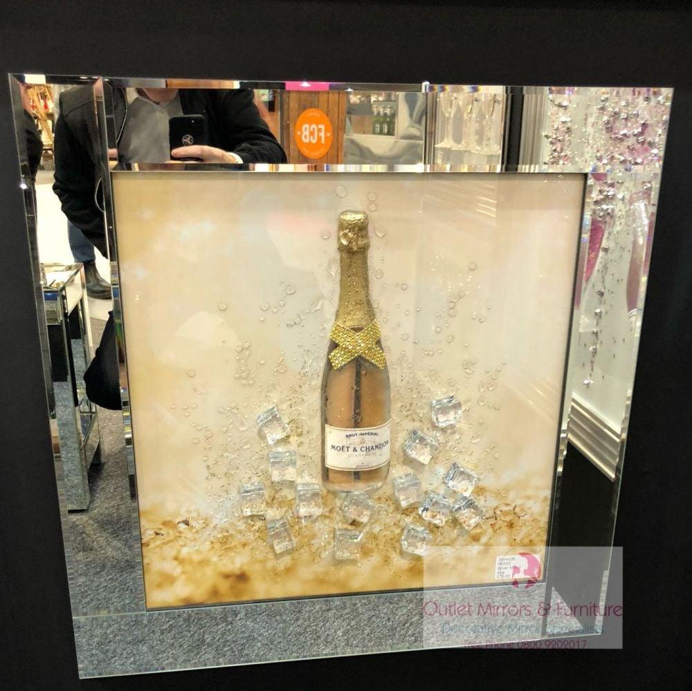 ** 3d Moet Champagne Glitter Art Mirrored Frame ** 65cm  x 65cm - in stock
