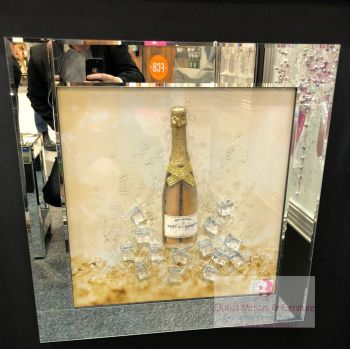 ** 3d Moet Champagne Glitter Art Mirrored Frame ** 65cm  x 65cm - in stock