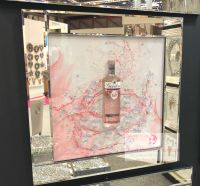 ** 3d Gordons Pink Gin Glitter Art Mirrored Frame ** 65cm  x 65cm in stock