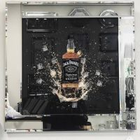** 3d Jack Daniels wall Art  Mirrored Frame ** 65cm  x 65cm
