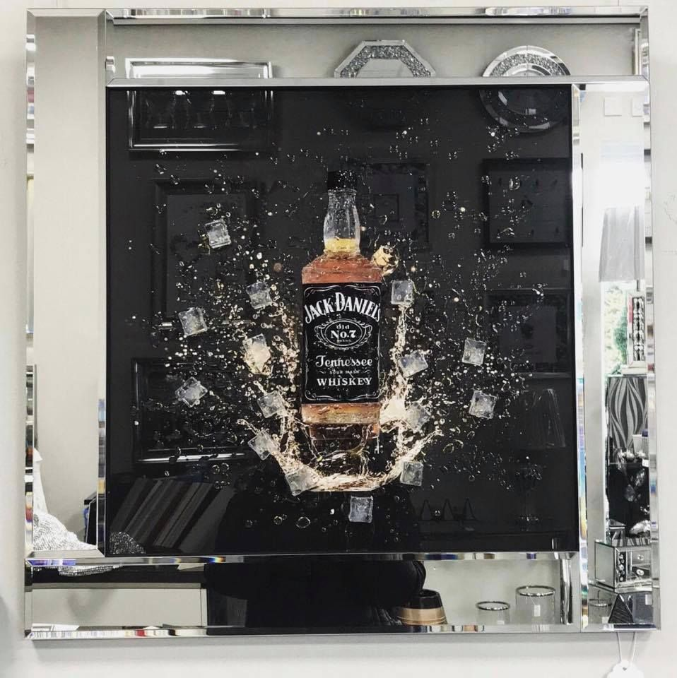 ** 3d Jack Daniels wall Art  Mirrored Frame ** 65cm  x 65cm