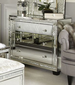 * Crush Sparkle Crystal Mirrored Milano 3 draw Large Chest