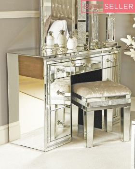 * Package deal Diamond Crush Crystal Sparkle Mirrroed Milano 7 draw Dressing Table / Desk Stool and Tri Fold Mirror