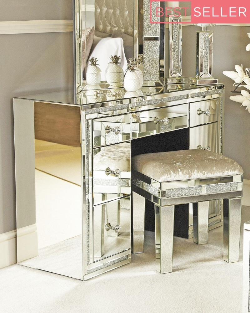 *Diamond Crush Crystal Sparkle Mirrroed Milano 7 draw Dressing Table / Desk