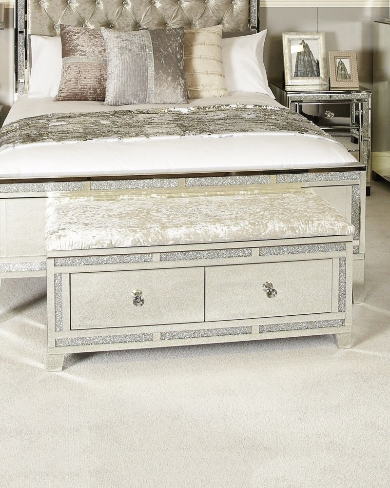 Milano Mirror Sparkle  Bed End Bench