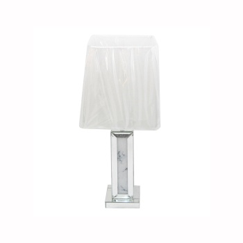 Mirror & Marble effect Table lamp with silver or white shade