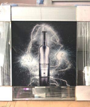 ** Belvedere Vodka Glitter Art Mirrored Frame ** 57cm x 57cm