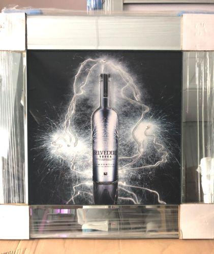 ** Belvedere Vodka Glitter Art Mirrored Frame ** 57cm x 57cm