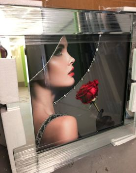 "Mirrored framed Liquid Art ""Glamour Lady Rose"""