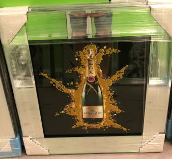 ** Moet Champagne Glitter Art Mirrored Frame ** 57cm x 57cm in stock for a quick delivery