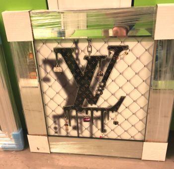 """Mirror Framed Sparkle Glitter Art """"Luis Vuitton"""" in stock"""