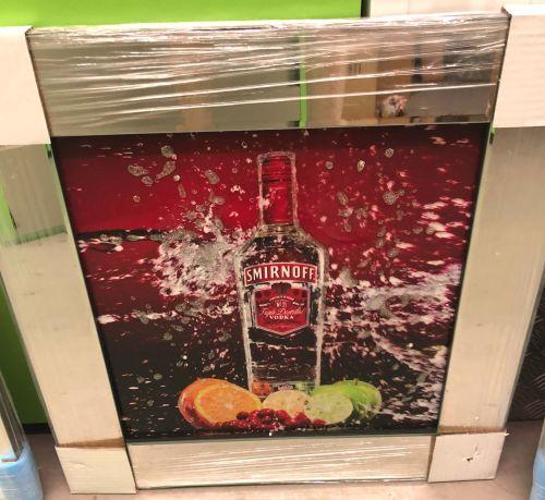 ** Smirnoff Vodka Glitter Art Mirrored Frame ** 57cm x 57cm