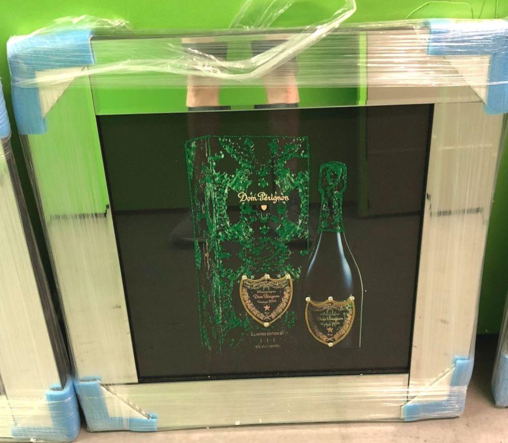 ** Don Perignon 2 Glitter Art Mirrored Frame ** 57cm x 57cm - in stock