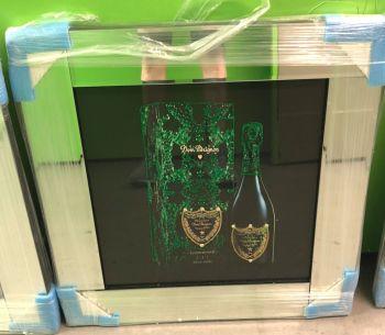 ** Don Perignon 2 Glitter Art Mirrored Frame ** 55cm x 55cm