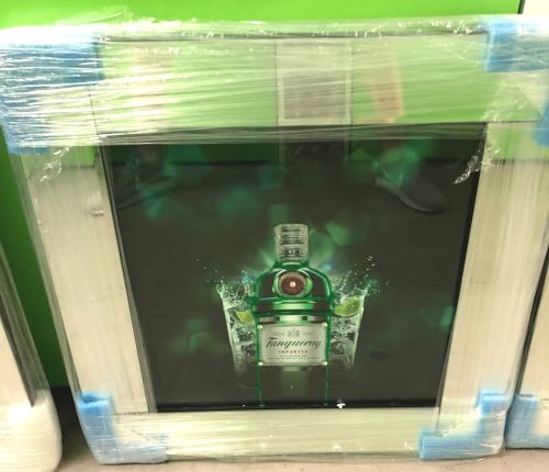 ** Tanqueray Glitter Art Mirrored Frame ** 57cm x 57cm  in stock for a quic