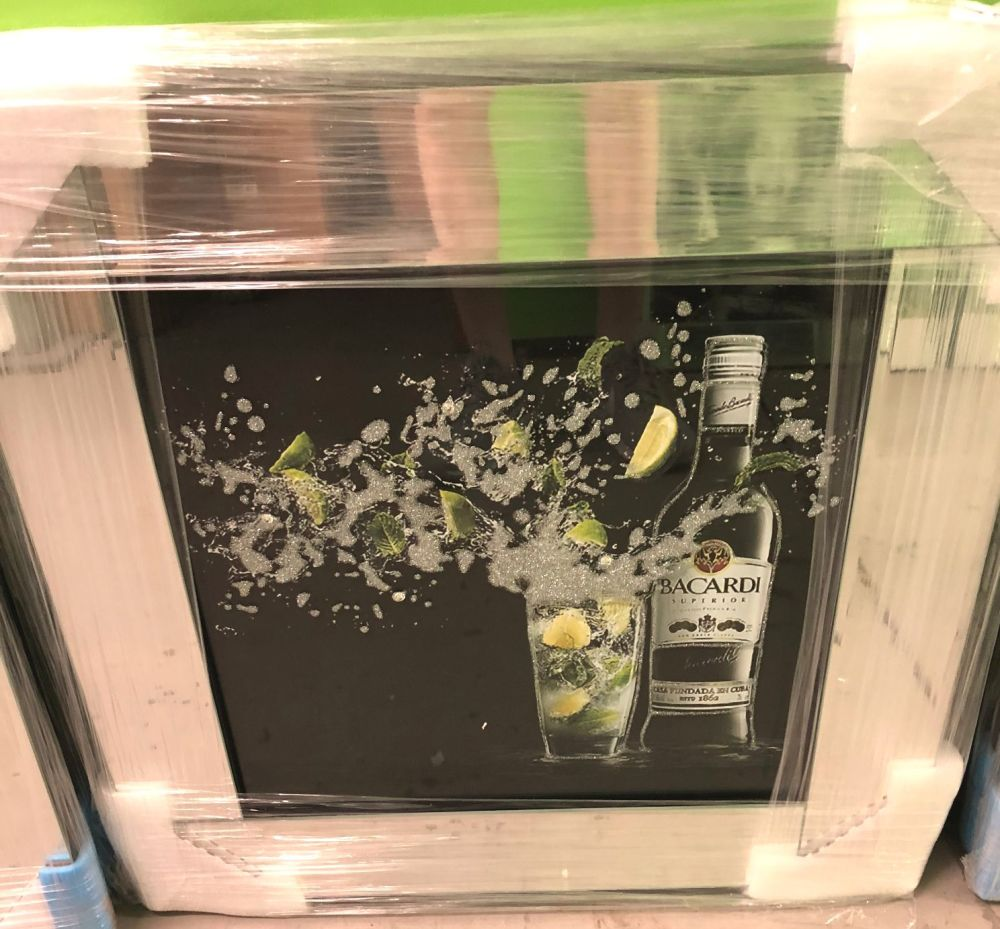 ** Bacardi Glitter Art Mirrored Frame ** 57cm x 57cm  in stock for a quick