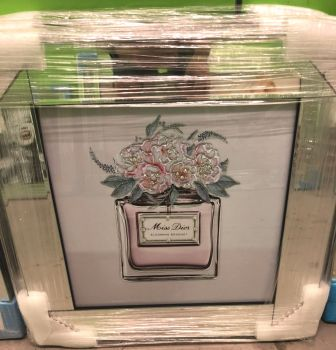 "Mirror framed Sparkle Glitter Art ""Miss Dior Blooming Bouquet"" in stock for a fast delivery"