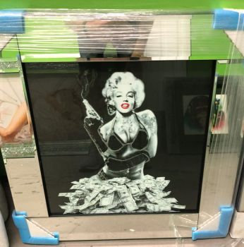 "Mirror Framed Art Print ""Monroe Money "" Sparkle Wall Art in stock"