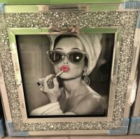 """ Glamour Lady "" Wall Art in a diamond crush frame in stock"