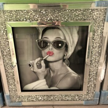 """ Glamour Lady "" Wall Art in a diamond crush frame"
