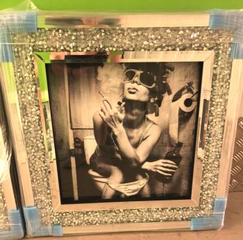 """Classy Lady"" Black & White Wall Art in a Diamond Crush frame"