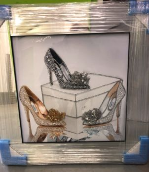 "Mirror framed ""Sparkle Shoes"" Wall Art in a mirror frame item in stock"
