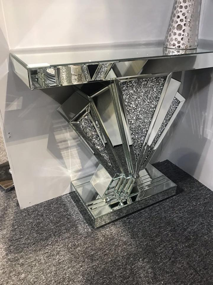 *Diamond Crush Sparkle Crystal Art Deco Console Table 2