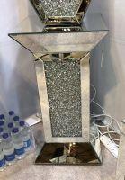 * New Diamond Crush Sparkle Crystal  Mirrored Pedestal Lamp Table 75cm x 40cm