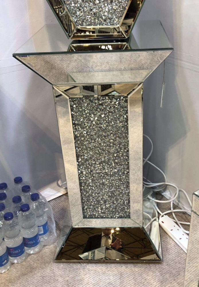 * New Diamond Crush Sparkle Crystal  Mirrored Pedestal Lamp Table 75cm x 40