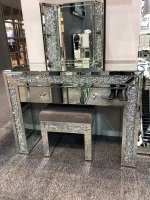 * Package Deal Diamond Crush Crystal Monica Mirrored Dressing Table / Console, stool and tri fold mirror  package deal