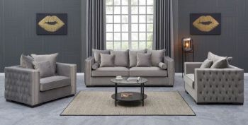 Moscow Package deal 3 Seater, 2 Seater & Armchair cushioned back buttoned sides in grey Velour