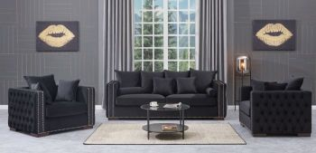 Moscow Package deal 3 Seater, 2 Seater & Armchair cushioned back buttoned sides in Black Velour