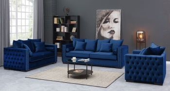Moscow Package deal 3 Seater, 2 Seater & Armchair cushioned back buttoned sides in Blue Velour