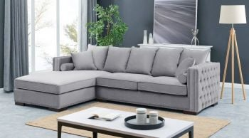 Moscow Left Hand Facing large Settee cushioned back buttoned sides in grey Velour