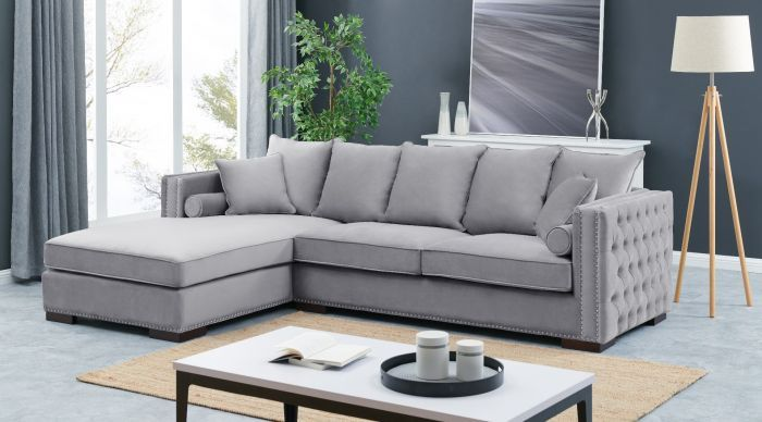 Left Hand large Settee cushioned back buttoned sides in grey Velour