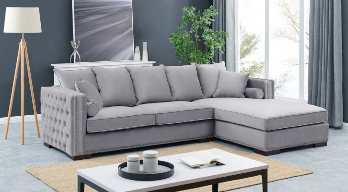 Right Hand Facing large Settee cushioned back buttoned sides in grey Velour