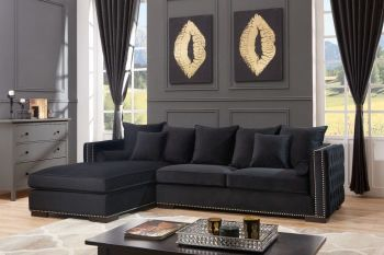 Moscow Left Hand Facing large Settee cushioned back buttoned sides in Black Velour