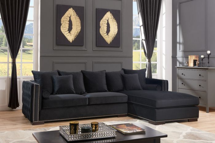 Moscow Right Hand Facing large Settee cushioned back buttoned sides in Blac