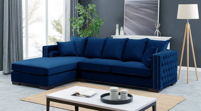 Moscow Left Hand Facing large Settee cushioned back buttoned sides in Blue