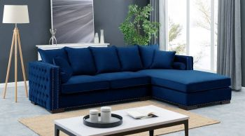 Moscow Right Hand Facing large Settee cushioned back buttoned sides in Blue Velour