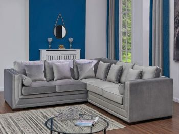 Valiona Grey Velour Corner Group Settee