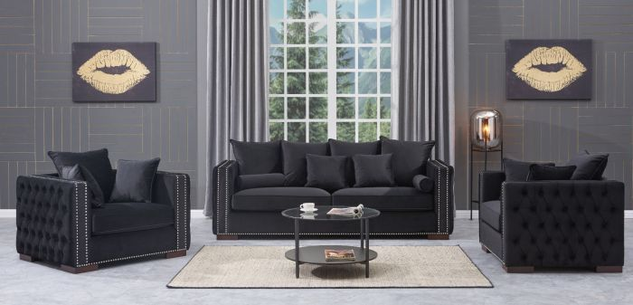 Moscow Settee Package deal 3+1+1 cushioned back buttoned sides in Black Vel