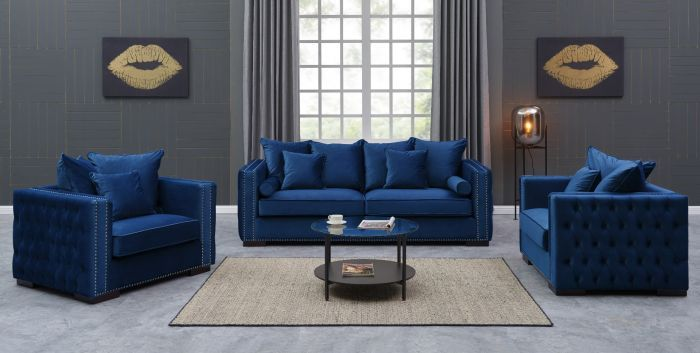Moscow Settee Package deal 3+1+1 cushioned back buttoned sides in blue Velo