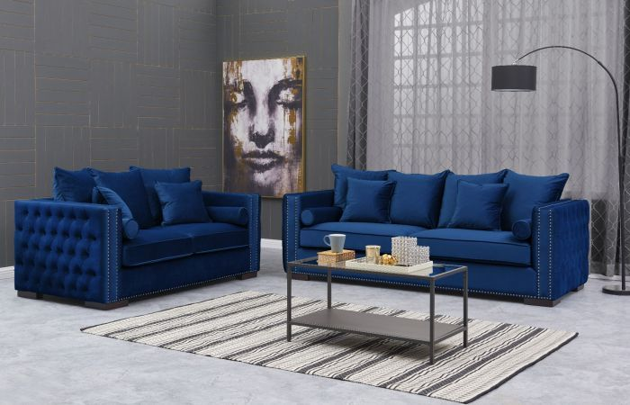 Moscow 3 Seater & 2 Seater cushioned back buttoned sides in Blue Velour
