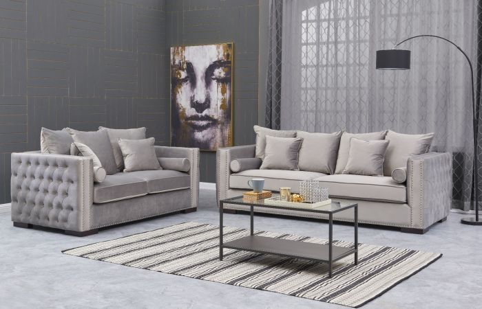 Moscow 3 Seater & 2 Seater cushioned back buttoned sides in grey Velour