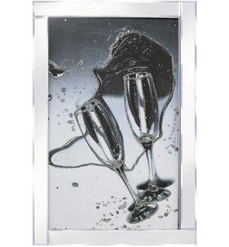 """Mirror framed art print """"New 'Champagne Glasses"""" 100cm x 60cm"""