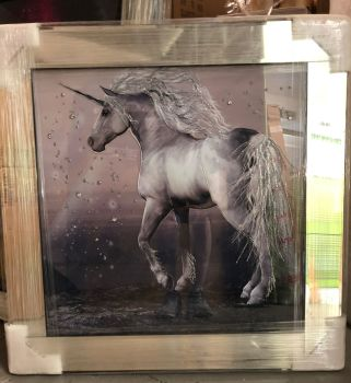 "Mirror framed ""colourful Unicorn"" Wall Art  in stock for a quick delivery"