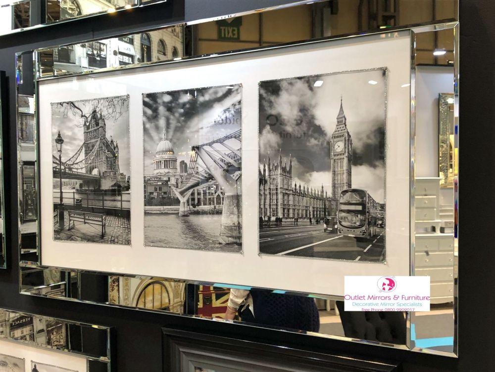 London City Scenes in a mirror frame 114cm x 64cm
