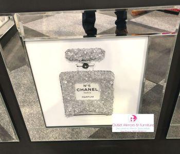 """Mirror framed Sparkle Glitter Art """"Chanel Cluster Perfume Bottle"""""""